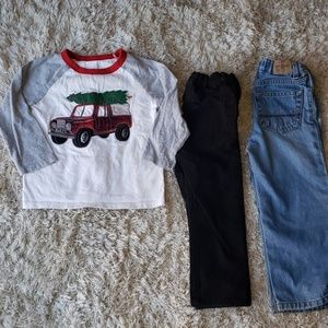 3- piece 3T. 2 pairs of jeans and a long-sleeve